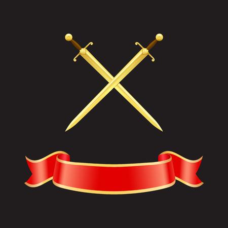 Bannière de vagues de ruban et épées croisées avec des poignées lourdes. Epées en or et bande rouge avec bordures jaunes. Icons set libre isolé sur vecteur