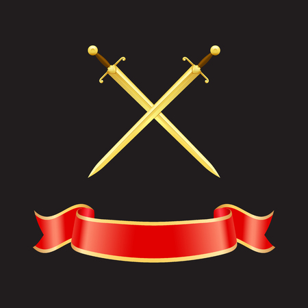 Ribbon waves banner and crossed swords with heavy handles. Epees made of gold and red stripe with yellow borders. Icons set closeup isolated on vector