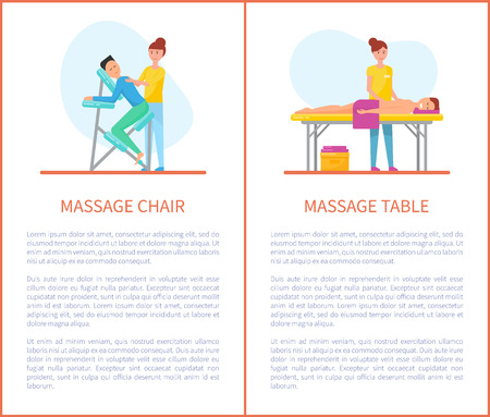 Massage chair and table cartoon equipment vector set. Masseur in uniform massaging patient sitting on armchair and lying on table covered by towel