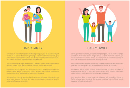 Happy family parents and kids. Mother holding newborn baby on hands, father with adorable son. Couple and children spending time together vector people Illustration