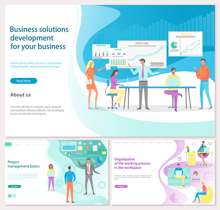 Business solution development for your business posters with text set vector. Project manager basics, organization of working process in workplace  イラスト・ベクター素材