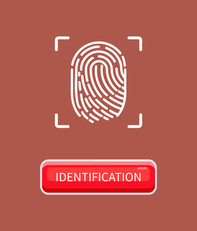 Identification and recognition of human, individual print left by finger. Biometric material and data. Fingerprint of person poster with button vector Vettoriali