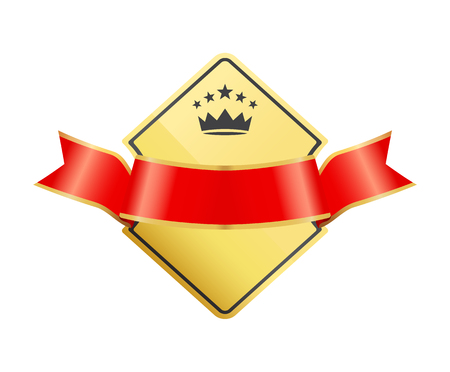Gold coat of arms with ribbon decoration vector