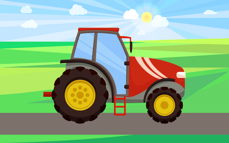Tractor driving on green field vector. Automobile with cabin for tractorist driver, ladder and wheels. Farming machinery, auto for lands cultivation
