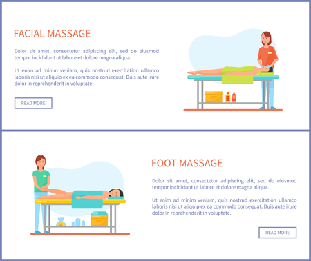 Facial and Foot Massage Session Cartoon Banner Set Stock Illustratie