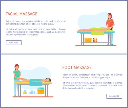 Facial and Foot Massage Session Cartoon Banner Set Çizim