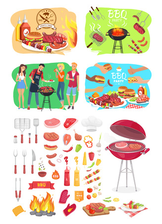 BBQ grill party time posters set isolated icons vector. Barbeque cooking people roasting beef meat on grid. Vegetables veggies and cutlery for picnic Standard-Bild - 113462932