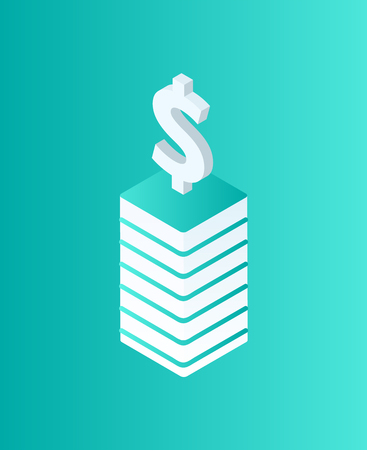 Blockchain dollar currency isolated icon isometric vector. Crypto strategy, money cash on pedestal. Mining and financial digital business strategies Illustration