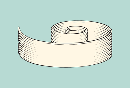Hand drawn monochrome sketch decorative ribbon vector icon. Ready for text horizontal rolled string, curly strip in vintage style graphic drawing Stock Illustratie