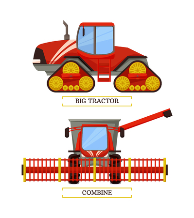 Agricultural machinery set, cartoon vector banner. New technique, big tractor on caterpillar band, combine with wide reaper and other tools isolated