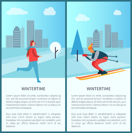 Wintertime city and people, set of posters, with given text, skier and ice-skating person, buildings on cityscape backdrop, clouds vector illustration  イラスト・ベクター素材