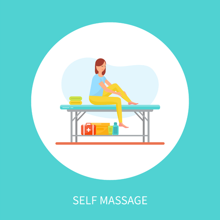 Self massage cartoon vector emblem relaxation woman in circle. Girl sitting on special table and massaging own legs, stretching and relaxing muscles
