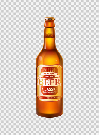 Craft beer in bottle with cap. Low alcohol drink made of hop and barley in glass container. Label on beverage realistic 3D vector on transparent backdrop Illustration