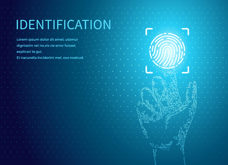 Identification fingerprints poster text sample vector. Fingermark and thumbprint authorization of unique personal finger pattern of human, digital data