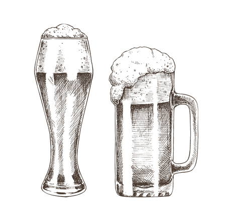 Tasty ale with foam poured into various goblets, isolated on white background vector illustration of graphic art, pair of glasses for beer drinking Çizim
