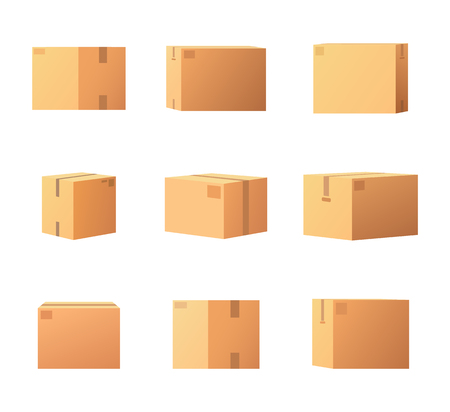Package Boxes for Things Isolated Icons Set Vector