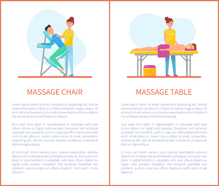 Massage Chair and Table Cartoon Equipment Set Stok Fotoğraf - 113462949