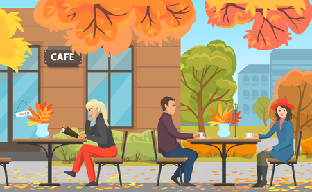 Autumn Park with Cafe, Couple and Woman at Table