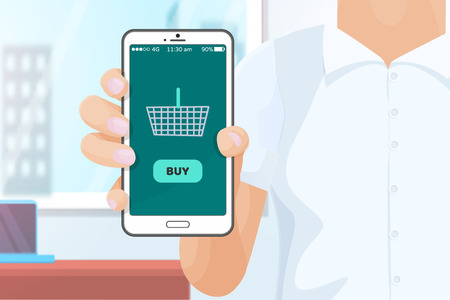 Buy Online Shopping with Help of Phone Vector Stock Photo