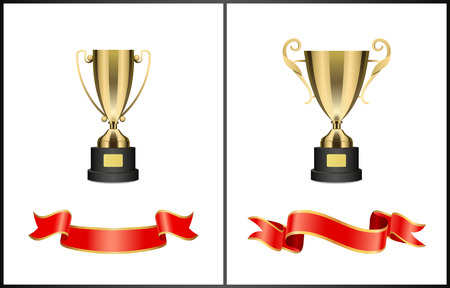 Golden Cups and Shiny Ribbons Colorful Poster