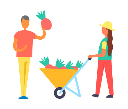 Harvest People and Fruits Cart Vector Illustration