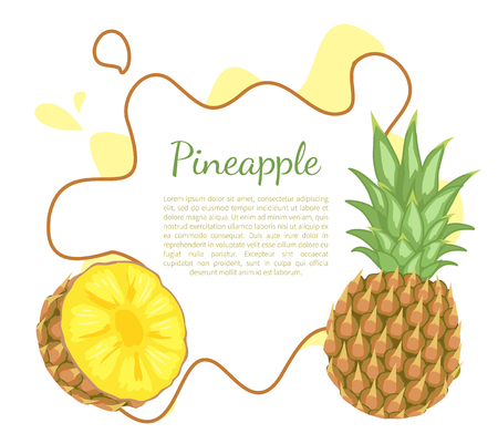 Pineapple tropical plant with edible multiple fruit vector poster frame and place for text. Tropical food, dieting vegetarian exotic item with vitamins