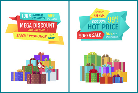 Special offer hot prices set with banners and gifts. Super sale buy natural products now limited time only. Presents in boxes with ribbons vector