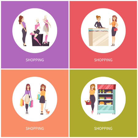 Shopping jewelry store consultant poster with text vector. Fridge with banana, apple and carrot, mannequin wearing brand clothes. Lady walking dog 向量圖像