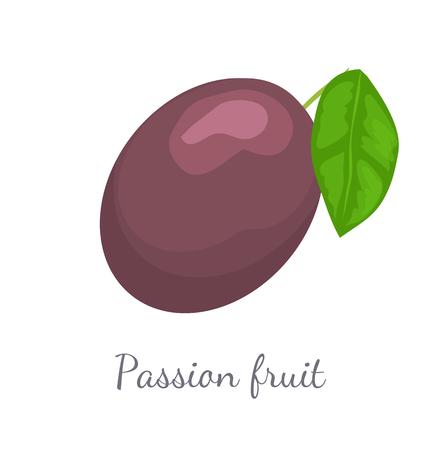 Passionsfrucht mit Blatt, exotischer saftiger Fruchtvektor Vektorgrafik