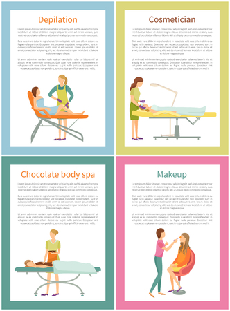 Depilation and cosmetician face care posters with editable text sample vector. Hair removal on legs of woman, visage makeup and chocolate procedure