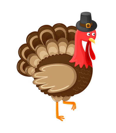 Bird symbolic animal of Thanksgiving day isolated icon vector. Harvesting autumn period, character wearing hat and cap on head. Holiday approaching