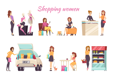 Shopping Women Poster Text with Ladies Set Vector Illustration