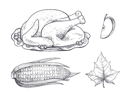 Turkey meat dish and corn vegetable and plate set vector. Isolated icons monochrome sketches outline maize and leaves, apple fruit slice and foliage