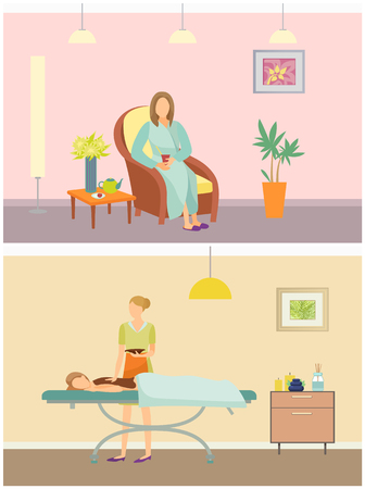 Beauty salon resort and chocolate spa set vector. Woman resting on vacation by drinking tea from teapot. Professional care of skin of clients back 向量圖像