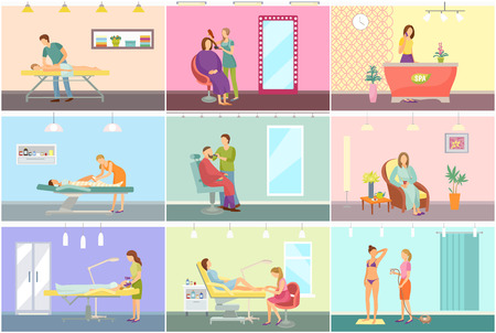 Spa center and beauty salon interior cartoon set vector banner. Equipment and amenity for medical and cosmetic procedures, specialists and clients