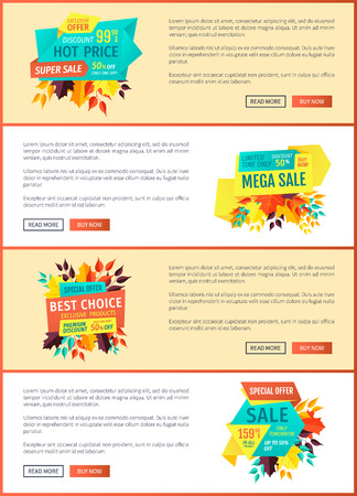 Exclusive price and offer posters set. Autumn proposition for shoppers. Limited time only premium quality of products and goods mega discounts vector