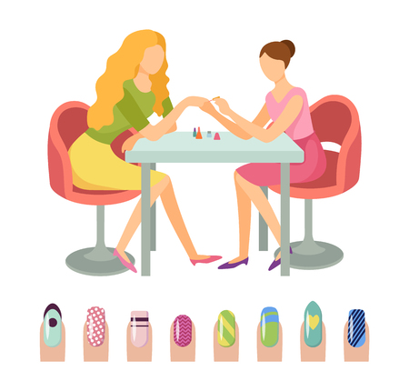 Manicure manicurist and client woman isolated icons set vector. Nails art with different patterns and prints, dots and hearts, stripes design beauty 矢量图像