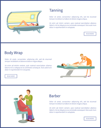 Tanning, body wrap and barber shop web posters in spa salon. Cosmetic procedures for people taking care about beauty, woman in solarium, text samples
