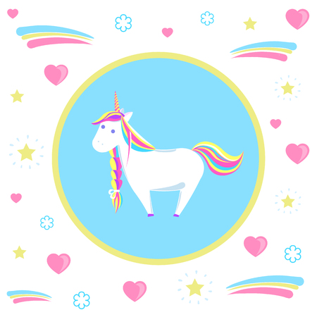 Unicorn with rainbow mane and sharp horn. Mysterious horse from fairy tales or legends in blue circle. Childish animal character vector isolated on hearts 向量圖像