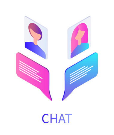 Chat boxes and people avatars of teenagers vector. Teenagers profiles, girl and boy youth, communication by using modern digital methods and devices
