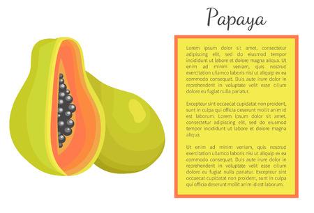 Papaya Exotic Fruit Vector Poster. Papaw Pawpaw Stock Photo