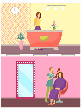 Spa Salon Receptionist Hair Styling Service Vector