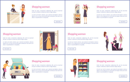 Shopping Shops, Stores with Luxury Clothes Vector