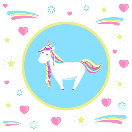 Mysterious Unicorn with Rainbow Mane and Sharp Horn