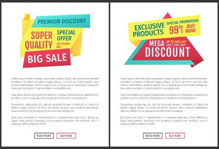 Premium Quality Sale Posters Vector Illustration