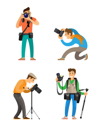 Journalists with professional equipment for taking photos, tripod and stabilizer, waist bags for cam and tools. Photographers working with camera vector