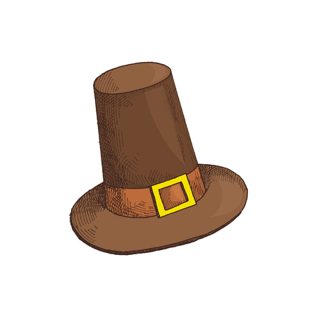 Holiday Thanksgiving day clothing isolated icon vector. Hat with belt old fashionable celebration cap of English people. Traditional symbol of event Illustration