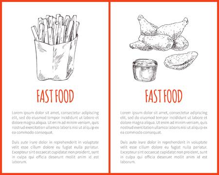 Fast food information poster with takeaway sketches. Fat french fries in paper wrap, fried chicken or naggets with sauce or dip jar snacks set promo. Illustration