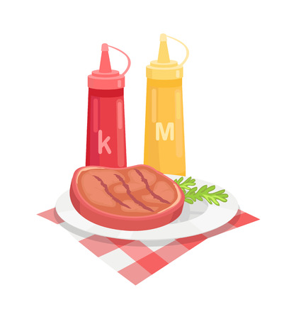 BBQ beef served on plate with herb and sauces isolated icon vector. Ketchup and mustard in plastic bottles roasted grilled beefsteak and fabric cloth Reklamní fotografie - 127054520