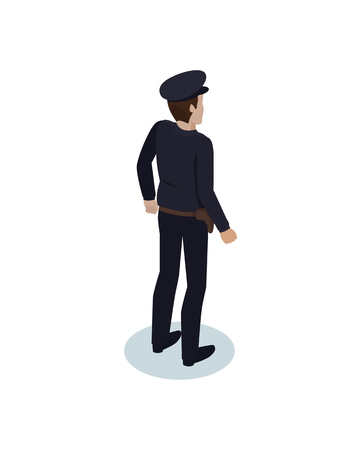 Police officer worker icon closeup. Back view of cop wearing uniform. Policeman with badge protecting people from crime strongman isolated on vector Illustration